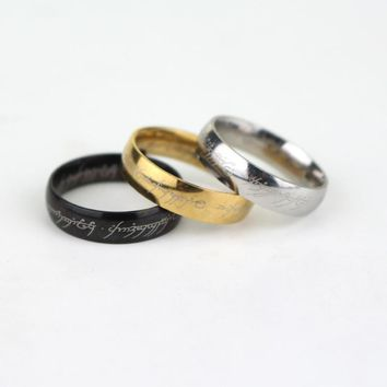 New Movie jewelry The Lord Stainless Steel Silver Rings jewelry for Men Engagement Fashion Jewelry Can Dropshipping