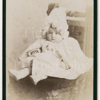 CDV Carte de Visite Photo Victorian Cute Baby Girl Sitting on Chair Portrait by Weston of Newgate Street London England