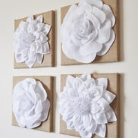 "MEMORIAL DAY SALE Wall Decor - Set Of Four White Dahlias And Roses On Burlap 12 x 12 "" Canvases - Wall Art -"