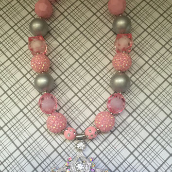 Girls Jewelry/Crown/Tiara/Toddler/Baby/Necklace-Bracelet Set/Chunky Necklace/Bubble Gum Beads/Gift Giving/Christmas Gift