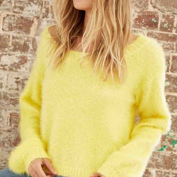 somedays lovin - clover fields knitted fuzzy jumper/sweater - marigold