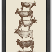 Americanflat Cow Cow Nuts 2 by Florent Bodart (Framed)