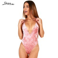 Women Sexy Deep V Neck Velvet Bodysuits 2017 Lace Up Backless Nightclub Jumpsuit Fashion Spaghetti Strap Tight Overall Rompers