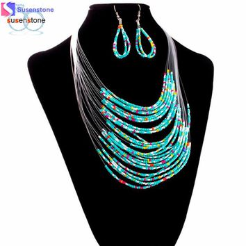 Womens Jewelry Multicolor Multi-layer Resin Beads Necklaces and Earrings Set