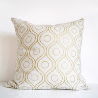 Silk pillow: ivory and metallic gold throw pillow, bohemian print on cream silk cushion cover