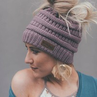 Messy Bun Beanie Ponytail Hat - Dusty Purple