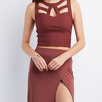 CAGED SLEEVELESS CROP TOP
