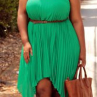 Green Spaghetti Strap Pleated Chiffon Dress
