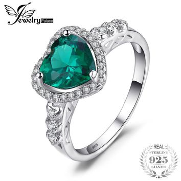 JewelryPalace Heart Of Ocean 1.8ct Created Emerald Love Forever Halo Promise Ring 925 Sterling Silver Ring Jewelry On Sale