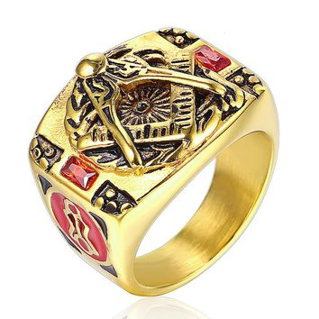 Big Vintage Gold Color Stainless Steel Rings For Men Free Mason Freemasonry Retro Punk Titanium Male Ring Masonic Jewelry
