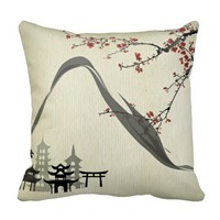 Japanese,vintage,cherry blossom,water colour,art, throw pillows