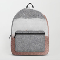 Concrete and rose gold Backpack by Printapix
