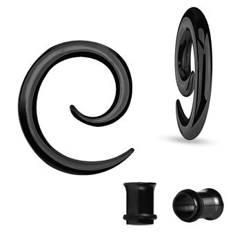 BodyJ4You Gauges Kit Spiral Hollow Light Taper Tunnels Black Surgical Steel 6G 4mm Body Piercing Jewelry Set 4 Pieces