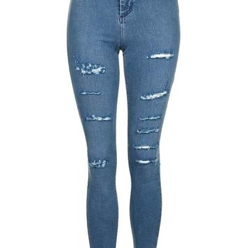 MOTO Dusty Blue Super Rip Joni Jeans - New In This Week - New In