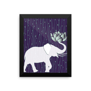 Framed Elephant Picture Indian With Lotus Flower Bohemian Design