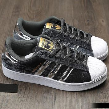 """""""Adidas"""" SUPERSTAR Fashion Winter Suede Gray Sneakers"""
