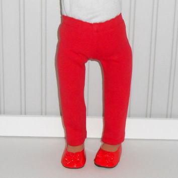 18 inch Girl Doll Clothes Red Leggings Knit Pants American Doll Clothes