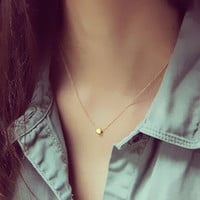 925 European and American minimalist silver star with Peas necklace handmade gilded Wishing clavicle chain female wild