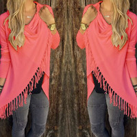 Long-Sleeve Fringed Asymmetrical Shirt