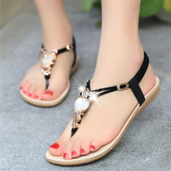 2016 Women Fashion Summer Thong Sandal Boho Owl Beads Girls Beach Flat Foothold Shoes