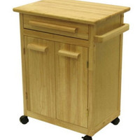 Sturdy Kitchen Cart With Two-Door Storage Cabinet Home Furniture Natural Finish