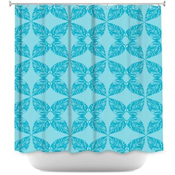 Shower Curtains By Julia Grifol Leaves Blue