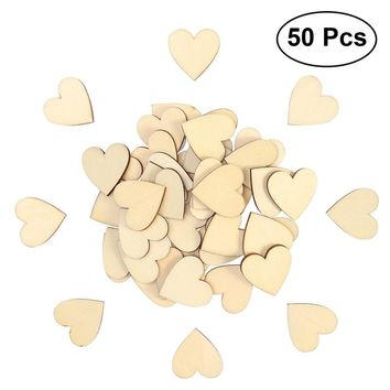 50pcs 30mm Blank Heart Wood Slices Discs for DIY Crafts Embellishments