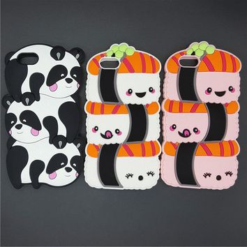 "Kawaii 3D Cartoon Japan Sushi Rice Balls Pandas Case Soft Silicon Cover For iPhone SE 5 5S 6 6S 7 8 / Plus 5.5"" Rubber shell"
