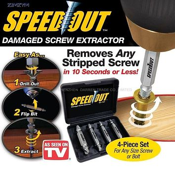 4pc/set Speed Out Damaged Screw Extractor Remover Drill For Removing Any stripped screw (phillips, Flat, Hex)