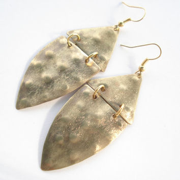 Handmade Earrings-Handcrafted Jewelry-Hand Hammered-Flamed-Unique Earrings-Contemporary Jewellery-Leaf Earrings-Gold Bronze Earrings