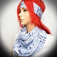 Blue & White infinity scarf with newspaper print with  matching headband