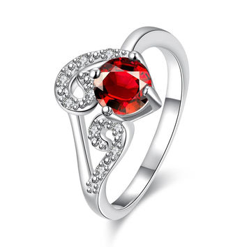 Ruby Red Duo-Spiral Design Petite Ring