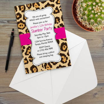 Instant Download - Cheetah Leopard Bright Pink Animal Print Safari Jungle Chic Slumber Birthday Party Invitation Template