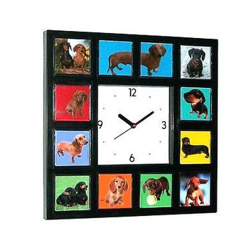 Dachshund Weiner Dog Clock with 11 pictures puppy adult
