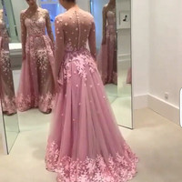 fashion elegant pink prom dress  2016 new o neck long sleeve appliques lace women  dresses for formal party  vestido de festa