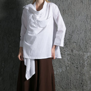 Rich Every Day White Linen Shirt Plus Size C636