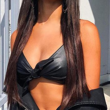 Faux Leather Front Tied Crop Top