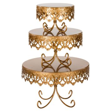 3-Piece Royal Crown Cake Stand Set (Gold)