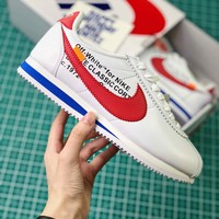 Off White X Nike Classic Cortez Leather White Red Sport Running Shoes - Best Online Sale