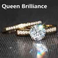 Queen Brilliance Genuine 14k 585 Yellow Gold1 Ct H Color Engagement Wedding Moissanite Diamond Ring & Wedding Ring Set