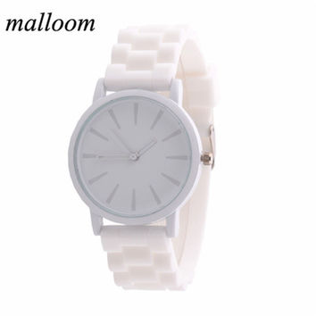 Malloom Montre Femme Silicone Watch Rubber Unisex Quartz Watch Reloj Pulsera Mujer Analog Sports Womens Watches