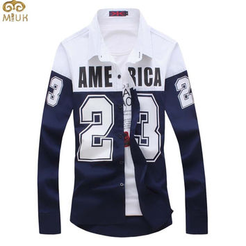 Plus Size Patchwork Letter Camisa Masculina 3XL Cotton 4Color Navy White Men Shirt 2017 New Long Sleeve Imported Clothing Camisa