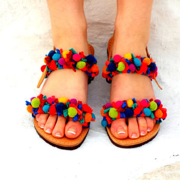 "Colorful woman Sandals, Pom Pom Leather Sandals, ""Rainbow"" beach Sandals, hippie leather shoes, bohemian Valentine's gift"