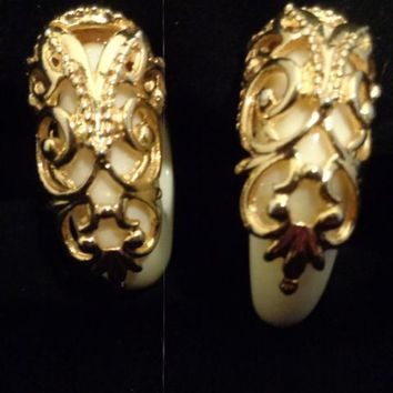 Large Ivory White Plastic Loop Earrings With Gold Filigree