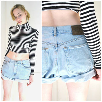 CALVIN KLEIN denim shorts vintage 80s 90s grunge PALE light wash denim rolled up jean shorts size 9 10