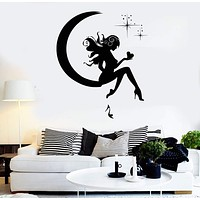 Wall Sticker Vinyl Decal Girl Fairy Moon Star Dreams Teen Decor  Unique Gift (z1082)