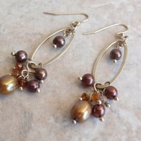 Pearl Dangle Earrings Sterling Silver Gold Plum Amber French Wires Vintage