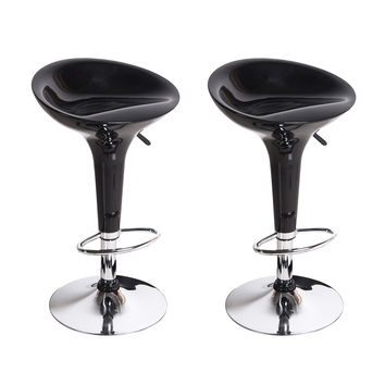 Adeco Black High Gloss Form Fitted, Adjustable Backless Barstool Chrome Finish Pedestal Base (Set of two)