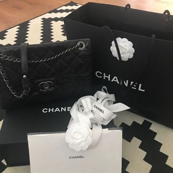 Authentic Rare CHANEL Black Quilted Leather Bag - Excellent Condition