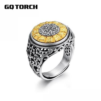 Vintage Six Words Mantra Rings Rotatable Zodiac 925 Sterling Silver Rings For Women Men Lovers Couples Om Mani Padme Hum